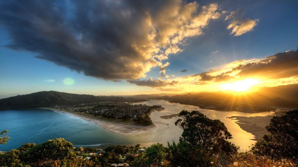 Sunset Over Mount Paku- airua New Zealand
