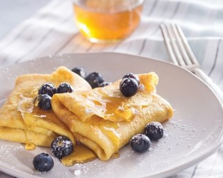 Honeyed Blueberry Blintzes