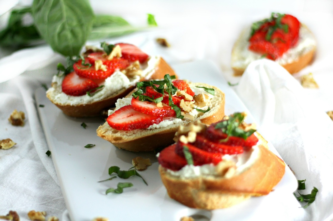 Strawberries and goat cheese is a tasty and hearty mid-morning snack.