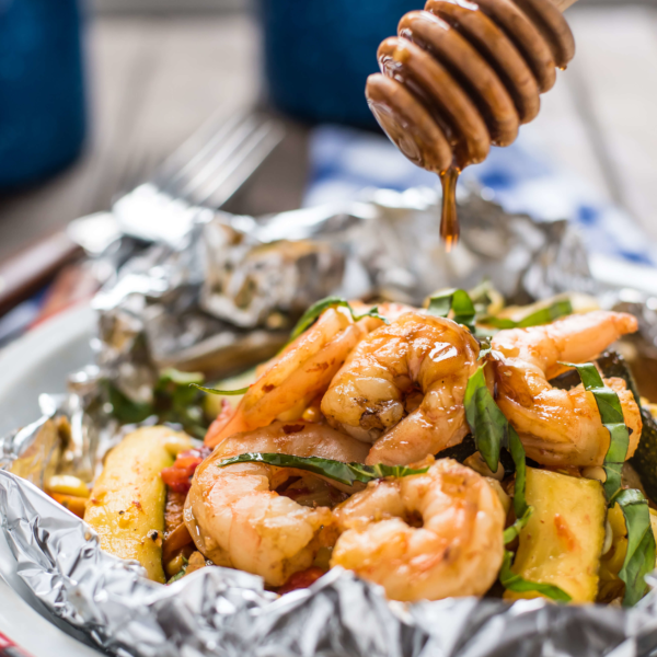Honey Garlic Shrimp Foil Packets