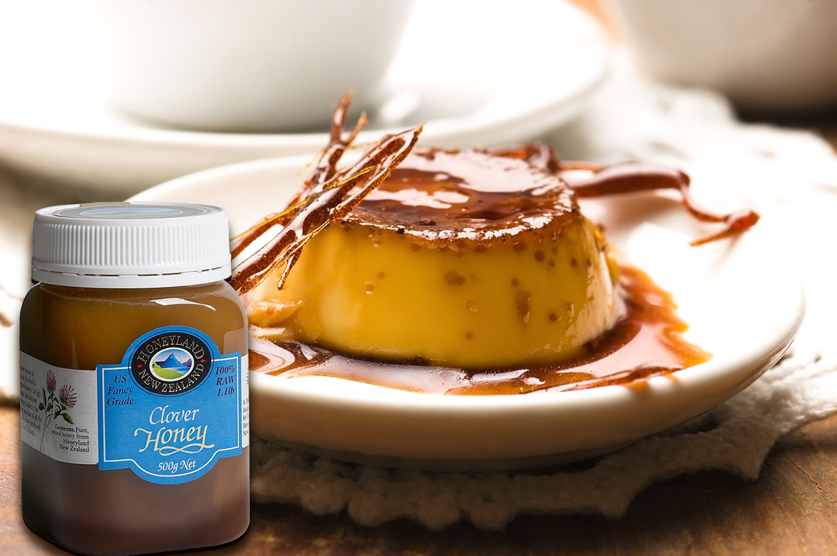 New Zealand Clover Honey Flan with Salted Caramel Sauce