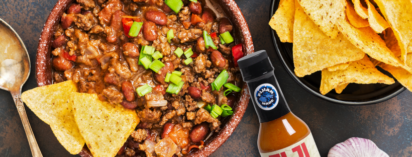 chili with Hot Fiji Fire Sauce